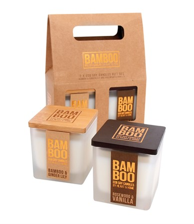 BAMBOO GIFT SET 2 SMALL CANDLES