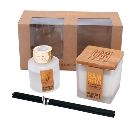 BAMBOO GIFT SET CANDLE & DIFFUSER