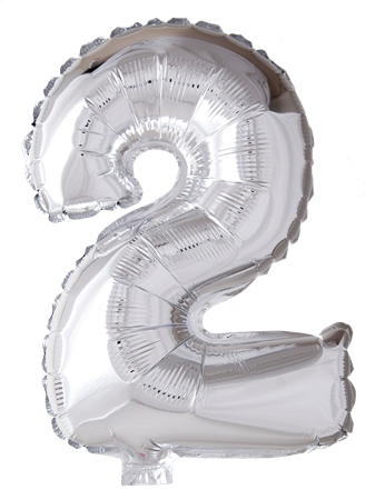 FOIL BALLOON NUMBER 2 SILVER 41 CM (6)