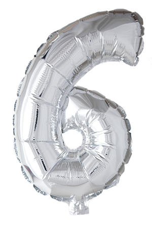 FOIL BALLOON NUMBER 6 SILVER 41 CM (6)