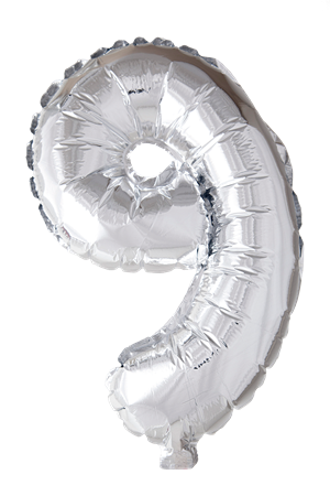 FOIL BALLOON NUMBER 9 SILVER 41 CM (6)