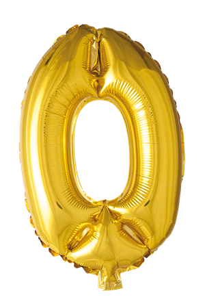 FOIL BALLOON NUMBER 0 GOLD 41 CM (6)