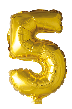 FOIL BALLOON NUMBER 5 GOLD 41 CM (6)