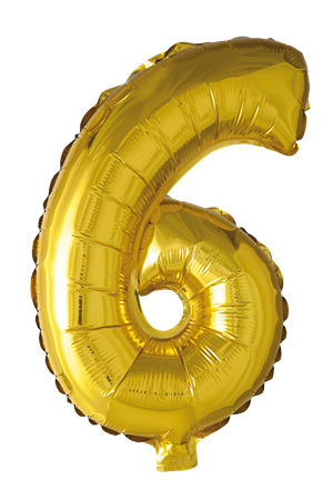 FOIL BALLOON NUMBER 6 GOLD 41 CM (6)