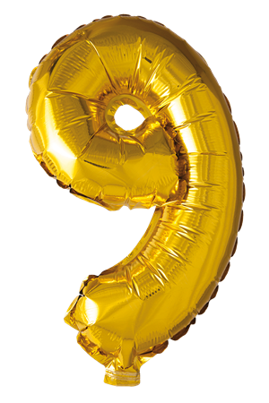 FOIL BALLOON NUMBER 9 GOLD 41 CM (6)