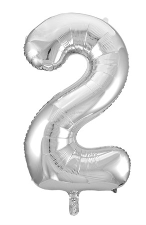 FOIL BALLOON NUMBER 2 SILVER 86 CM (6)