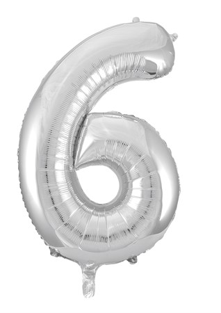 FOIL BALLOON NUMBER 6 SILVER 86 CM (6)