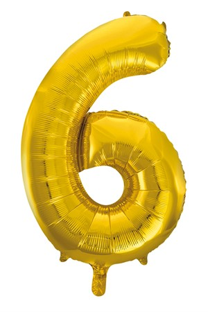 FOIL BALLOON NUMBER 6 GOLD 86 CM (6)