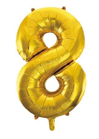 FOIL BALLOON NUMBER 8 GOLD 86 CM (6)
