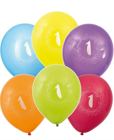 "BALLOONS 12"" 1ST BIRTHDAY 6-P (6)"