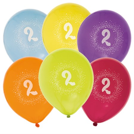 "BALLOONS 12"" 2ND BIRTHDAY 6-P (6)"