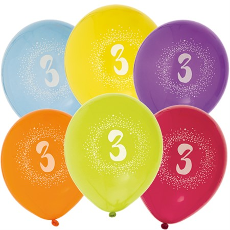 "BALLOONS 12"" 3RD BIRTHDAY 6-P (6)"