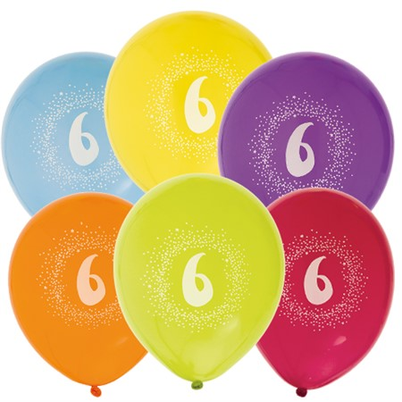 "BALLOONS 12"" 6TH BIRTHDAY 6-P (6)"