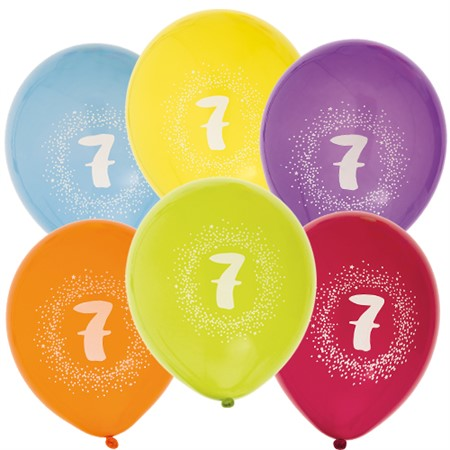 "BALLOONS 12"" 7TH BIRTHDAY 6-P (6)"
