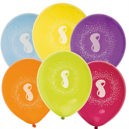 "BALLOONS 12"" 8TH BIRTHDAY 6-P (6)"