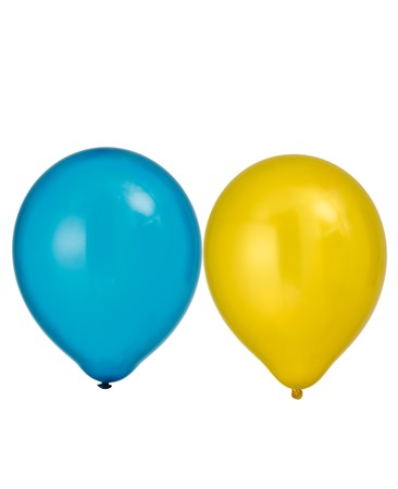 "BALLOONS 12"" METALLIC BLUE/YELLOW 8-P (6)"