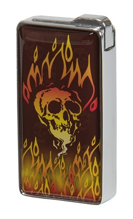 LIGHTER  FLAMING SKULL