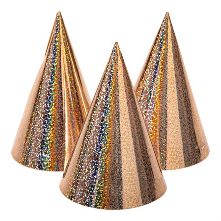 PARTY HAT HOLOGRAPHIC ROSE GOLD 6-P (6)