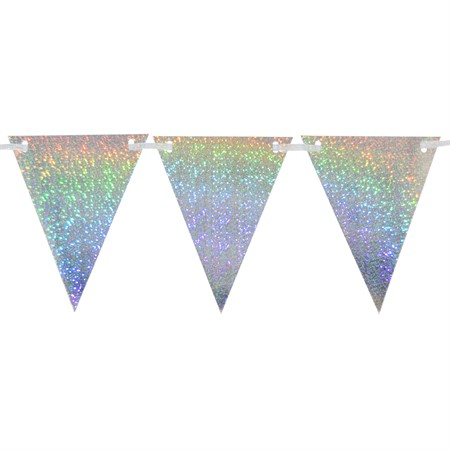TRIANGLE FLAG BANNER HOLOGRAPHIC SILVER (6)