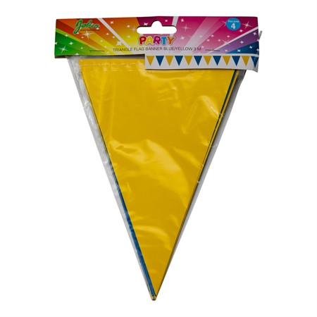 TRIANGLE FLAG BANNER BLUE YELLOW 3M (6)