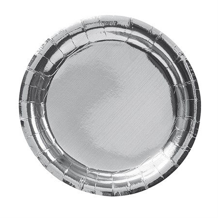 PARTY PAPER PLATE 18,5 CM SILVER 8-P (6)