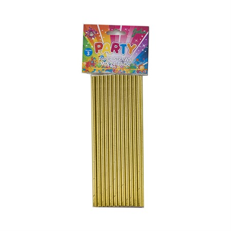 PAPER STRAWS GOLD 24-P (12)