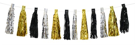 TASSEL GARLAND SILVER AND GOLD (6)