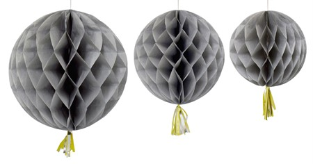 HONEYCOMB BALL WITH TASSEL GREY 3-P
