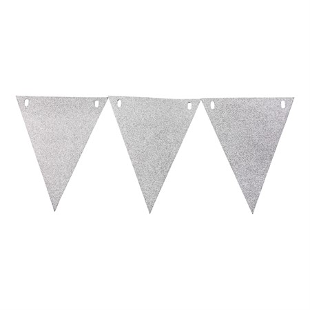 TRIANGLE FLAG BANNER GLITTER SILVER 3,6 M (6)