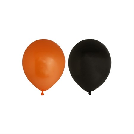 "BALLOONS 12""  BLACK/ORANGE 10-P (6)"