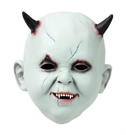 LATEX MASK BABY FACE W. HORNS