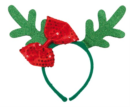 HEADBAND GREEN REINDEER HORNS W. BOW (6)