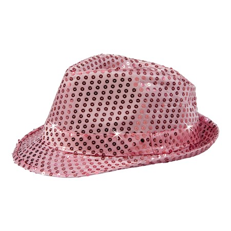 HAT W.LIGHTS SEQUIN FEDORA PINK (12)
