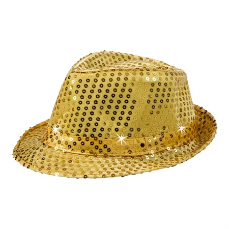 HAT W.LIGHTS SEQUIN FEDORA GOLD (12)
