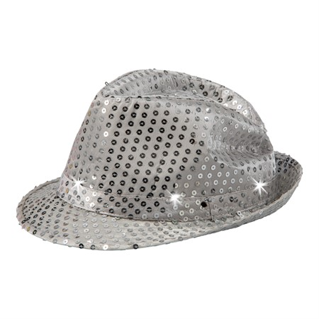 HAT W.LIGHTS SEQUIN FEDORA SILVER (12)